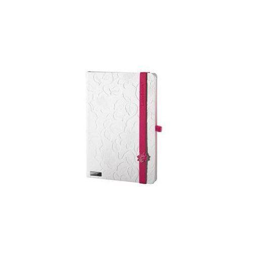 Lediberg Notes a5 lanybook innocent passion w kratkę biały z czerwoną gumką