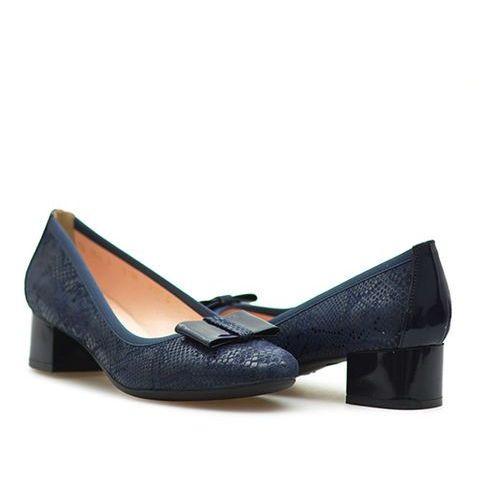 Czółenka Arka BI5171/671+355 Granatowe lico łuska, kolor niebieski