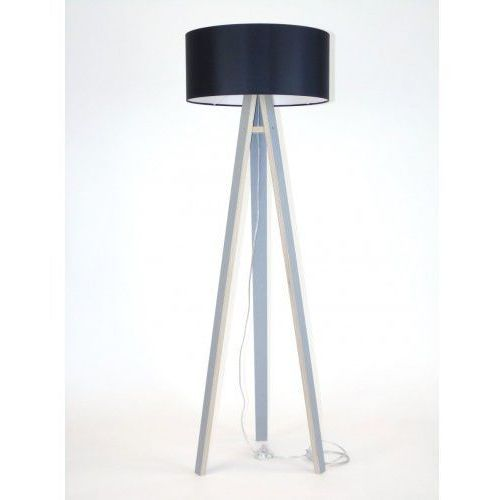 Lampa Podłogowa drewniana RAGABA WANDA - szara/czarny abażur, uniw-RAGABALP320