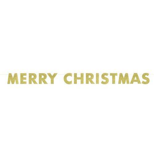 Unique Baner brokatowy złoty merry christmas - 1 szt.