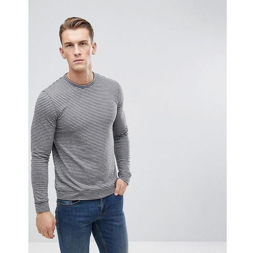 Esprit Long Sleeve Organic T-Shirt With Stripe - Grey, 1 rozmiar