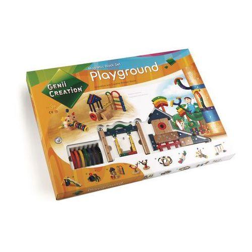 Drewniane klocki magnetyczne playground 173 el. marki Genii creation