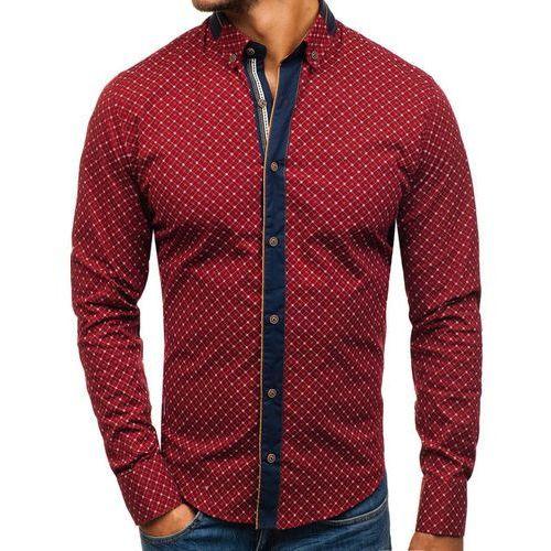 Koszula męska we wzory z długim rękawem bordowa Bolf 8811, kolor czerwony