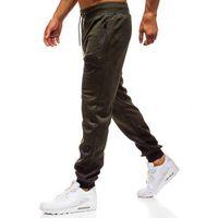 Spodnie męskie dresowe joggery zielone Denley HM008, kolor zielony