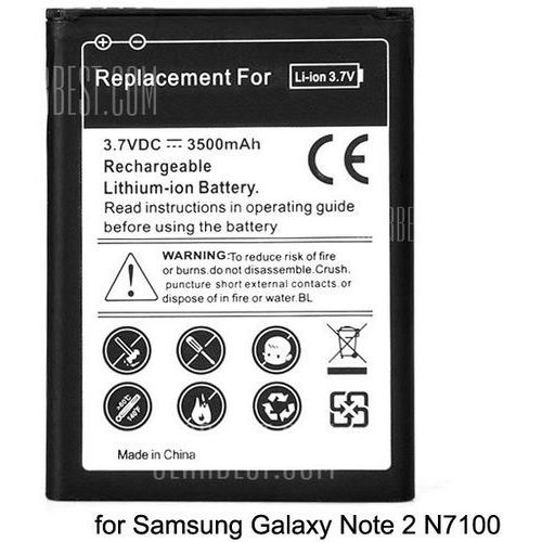 3.7v 3500mah durable extended lithium - ion battery for samsung galaxy note 2 n7100 od producenta Gearbest