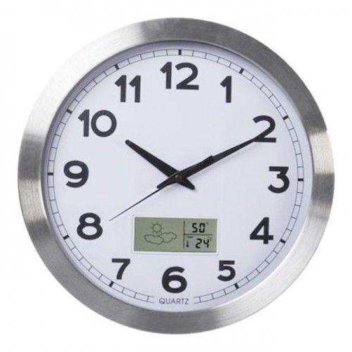 Zegar aluminiowy stacja pogody 355mm, AL102LCD