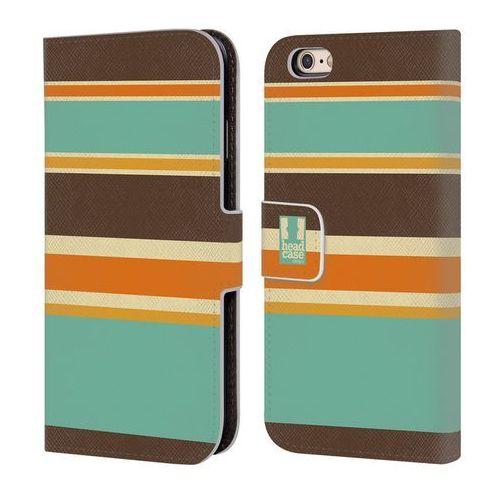 Etui portfel na telefon - Paski Brązowe i Pomarańczowe, kolor brązowy