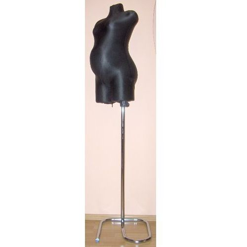 Manekin krawiecki - ciążowy długi czarny - na metalowym stojaku zawijanym.
