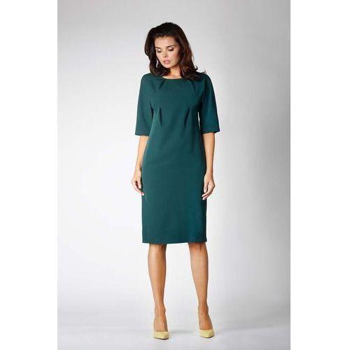 Zielona Elegancka Prosta Sukienka z Asymetrycznym Zapięciem, NA576ge