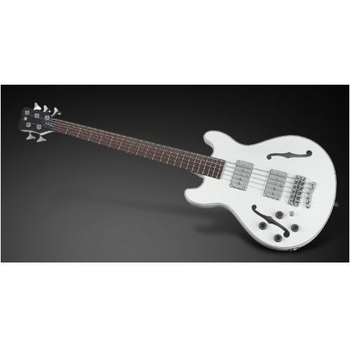 RockBass Star Bass 5-str. Solid Creme White High Polish, Fretted - Long Scale - Lefthand gitara basowa