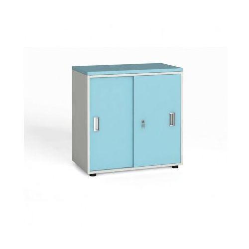 Szafa biurowa z przesuwnymi drzwiami, 740 x 800 x 420 mm, biały/turkusowy marki B2b partner