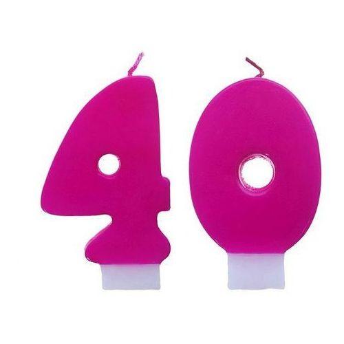 Świeczki cyferki różowe - 40 - czterdziestka - 2 szt. marki Party deco