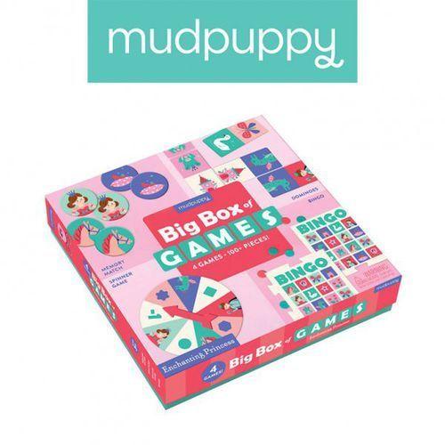 zestaw 4 gier – memo, bingo, domino i koło fortuny księżniczka marki Mudpuppy