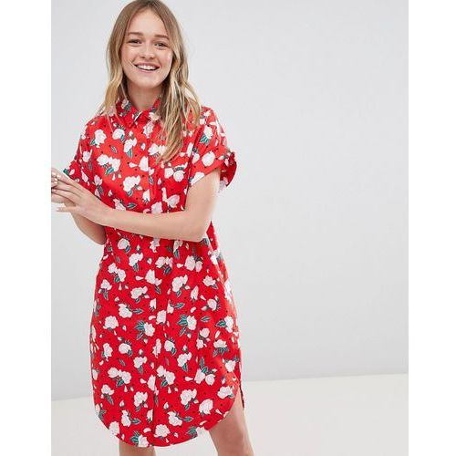floral polka dot shirt dress - red, Monki, 32-40
