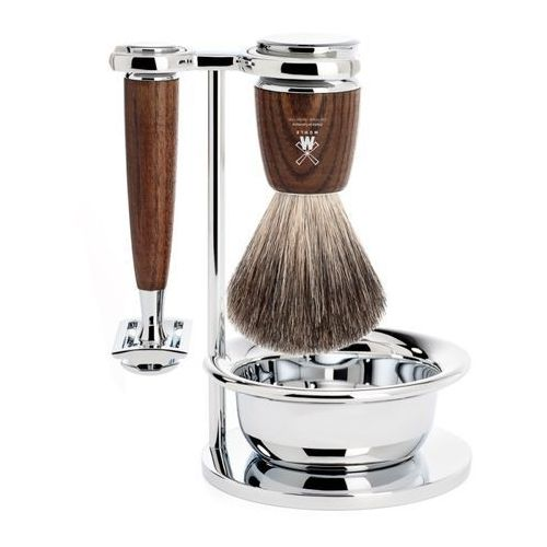 rytmo s81h220ssr zestaw do golenia: pędzel, maszynka na żyletki, stojak i miseczka, jesion marki Mühle