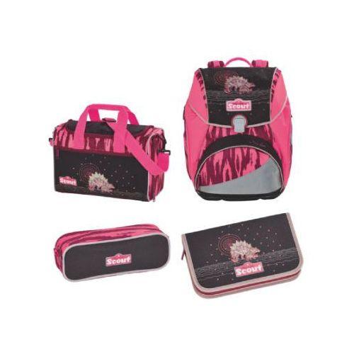 SCOUT Alpha Plecak z akcesoriami szkolnymi, 4-częściowy - Pink Dino, kolor różowy