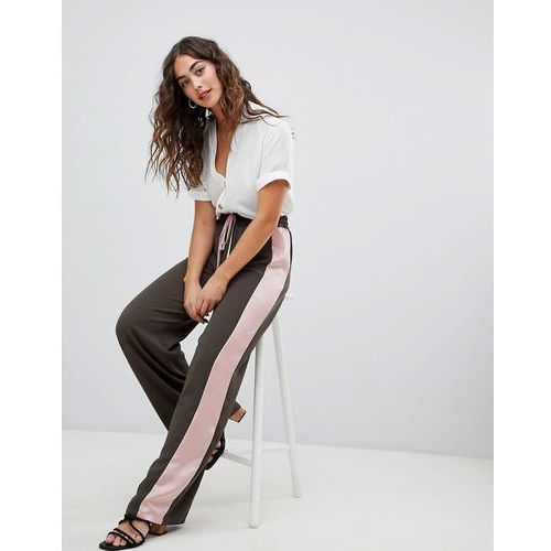 Glamorous smart joggers with satin side stripe - Green