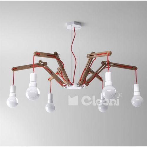 Lampa wisząca spider a6 z beżowym przewodem, orzech żarówki led gratis!, 1325a6p1304+ marki Cleoni