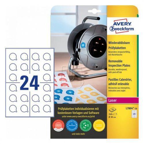 Tabliczki inspekcyjne usuwalne Avery Zweckform 30mm 10 arkuszy L7804-10, 87863