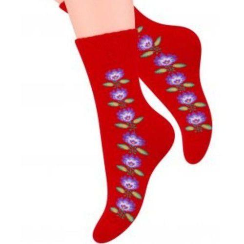 Skarpety damskie STEVEN Frotte 061 wz.032 czerwone, kolor czerwony