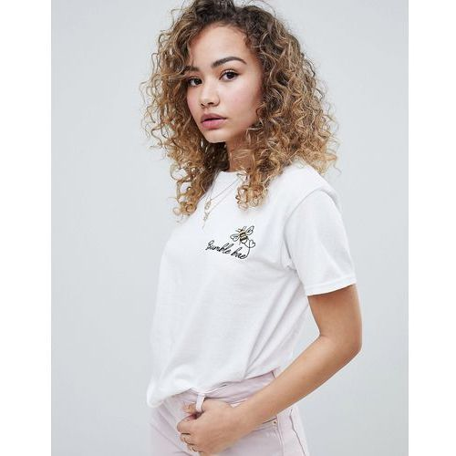 t-shirt with bumble bee embroidery in white - white marki Miss selfridge