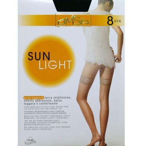 Pończochy sun light 8 den 3-m, beżowy/beige naturel. omsa, 2-s, 3-m, 4-l marki Omsa