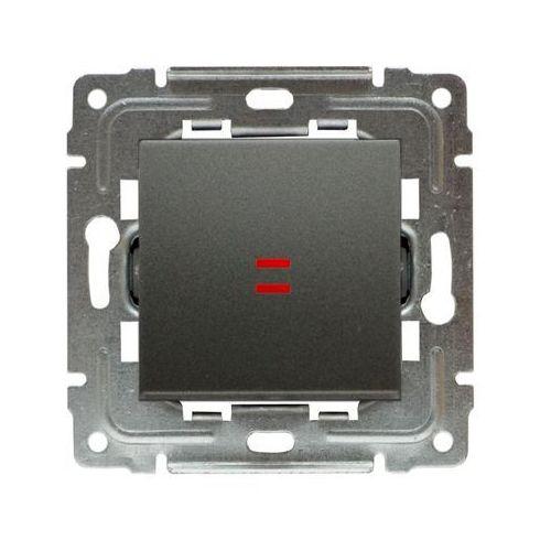 Wyłącznik pojedynczy uniwersalny podświetlany metalizowany, dante wyprodukowany przez Kos