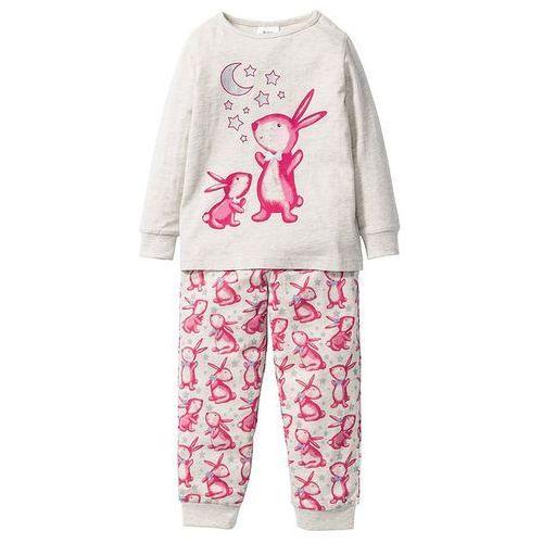 Bonprix Piżama (2 części)  naturalny melanż - różowy, kategoria: piżamy dziecięce
