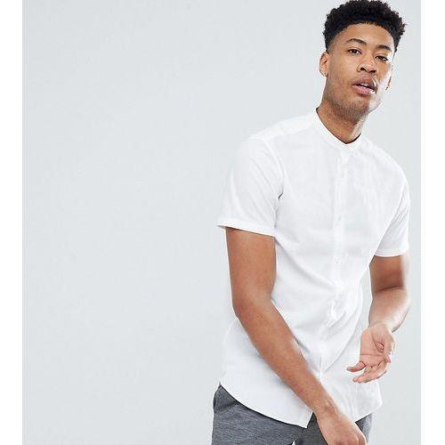 Selected Homme TALL Short Sleeve Linen Shirt With Grandad Collar - White, len