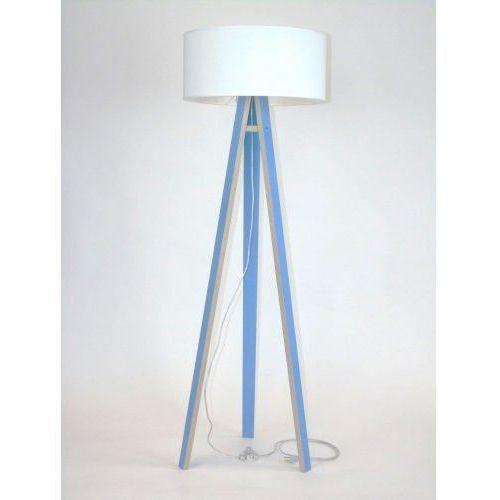 Ragaba Lampa stojąca na trzech nogach drewniana z abażurem wanda - niebieska/biały abażur
