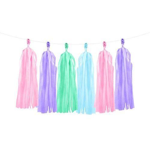 Party deco Girlanda z frędzlami różowymi, zielonymi, błękitnymi i fioletowymi - 150 cm - 1 szt.