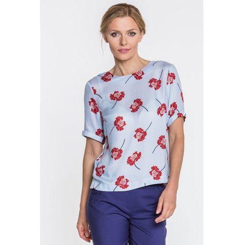 Bluzka w czerwone kwiaty - Duet Woman, kolor niebieski