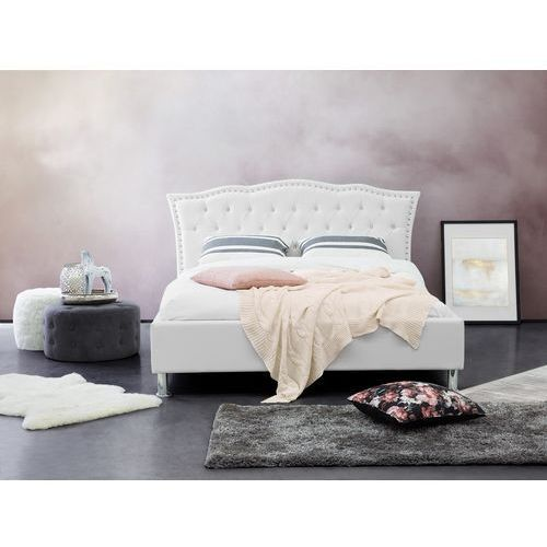 Łóżko białe - 140x200 cm - skórzane - ze schowkiem na pościel - METZ