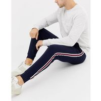 Burton menswear joggers with side stripe in navy and red - navy