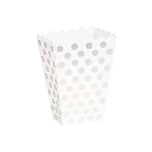 Pudełka na popcorn białe w srebrne kropki - 8 szt. marki Unique