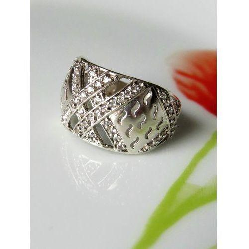 Srebrny pierścionek z cyrkoniami, rozmiar 16