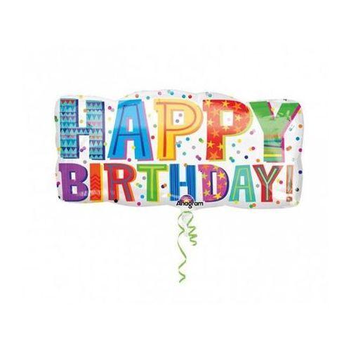 Balon foliowy urodzinowy Happy Birthday - 83 x 40 cm (0026635308236)