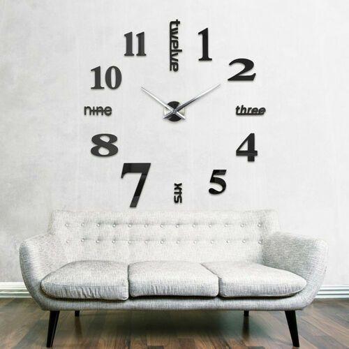 Nowoczesny zegar ścienny czarny ANGIELSKI czarny większa niż 50 cm, kolor czarny