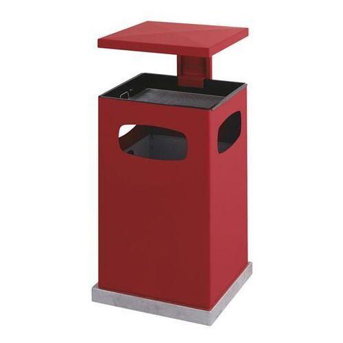 Pojemnik na odpady do ustawienia na zewnątrz, z wkładaną popielniczką i daszkiem