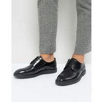 high shine lace up shoes in black - black marki Silver street