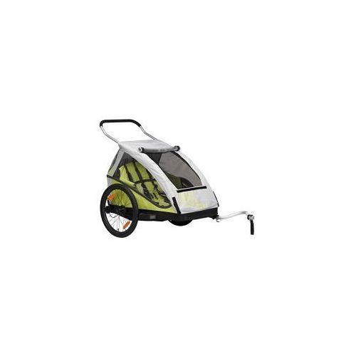 Przyczepka rowerowa dla dzieci bs c05 duo2, 2w1+ wózek, składana zielona marki Xlc