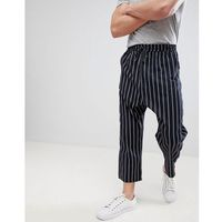 Asos design oversized tapered trousers in navy stripe with elasticated waist - navy
