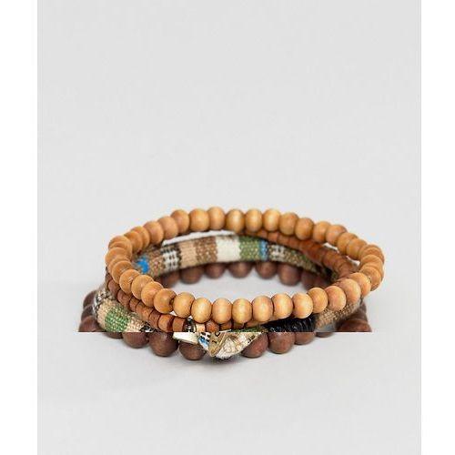 Icon brand brown beaded bracelet in 3 pack - brown