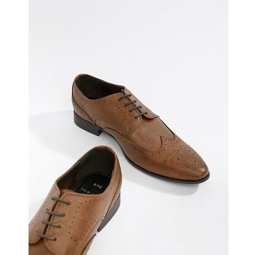 New Look Faux Leather Brogue Shoes In Tan - Tan