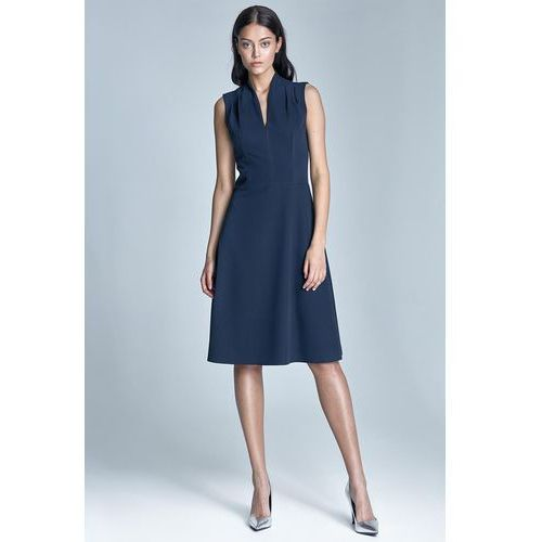 9f7cd61227 Granatowa Elegancka Sukienka Midi z Deko... Producent ...