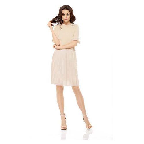Beżowa elegancka wyjściowa sukienka z plisowaniem marki Lemoniade