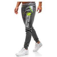 Spodnie męskie dresowe joggery grafitowe Denley KK528