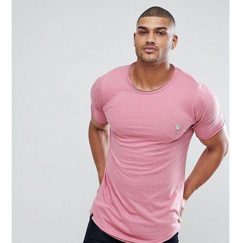 Le Breve TALL Longline Raw Edge T-Shirt - Pink, w 3 rozmiarach
