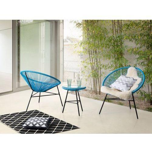 Meble ogrodowe niebieskie - balkonowe - stół z 2 krzesłami - ACAPULCO