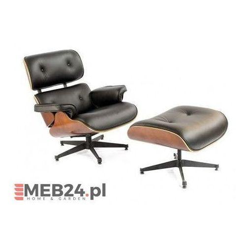 Fotel z podnóżkiem kopenhaga czarna skóra/ciemny orzech marki Malodesign